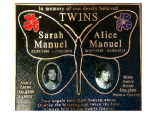 Plaque with Butterfly & Flower graphics (Twins)